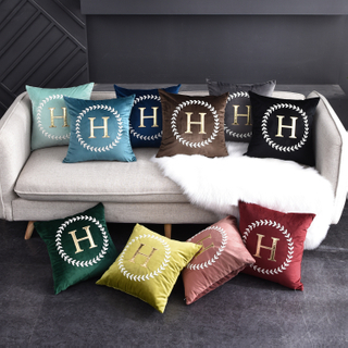 Monad Gold Alphabet Applique Home Decorative Hand Embroidery Velvet Hotel Sofa Cushion Covers