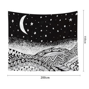 Sun And Moon Stars Illustration Dark Black And White Wall Tapestry For Wall