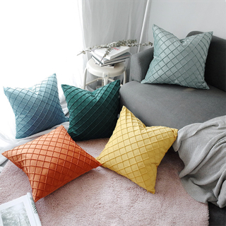 Monad European Oem Geometric Plain hotel Embroidery Velvet Cushion Cover