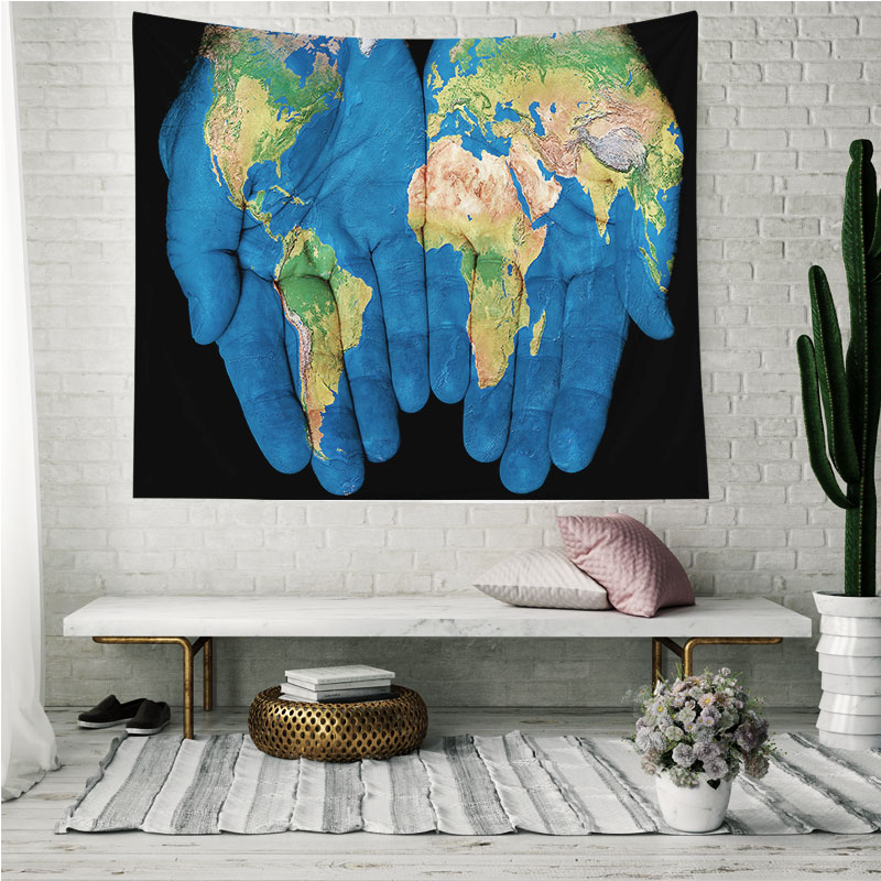 Monad Custom Made Eco Friendly Velvet Fabric Colorful World Map Wall Hanging Tapestry