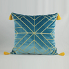 Large 60 x 60 Luxury Designer Geometric Gold Tassel Fringe Velvet Cushion