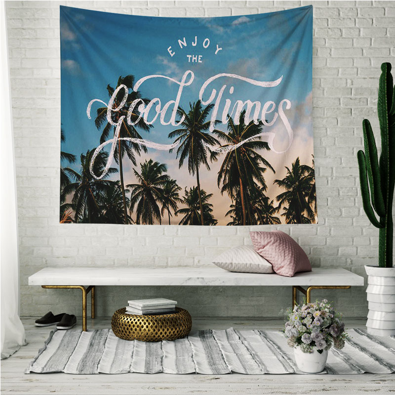 Monad Modern Colorful Ins Vacation Ocean Coconut Tree Of Life Decorative Wall Hanging Tapestry