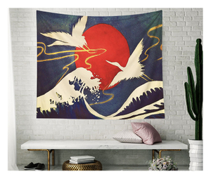 Japan chinese and hindu Sun Crane Animal Colorful Wall Tapestry
