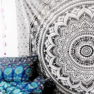 Wholesalers Ethnic India Mandala Black White Printed cushion cover For Living Room