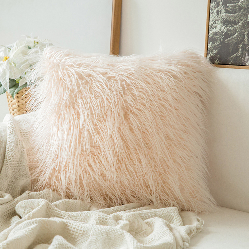 Monad Nordic Decorative Solid Faux Fur Cushion Covers For Sofa