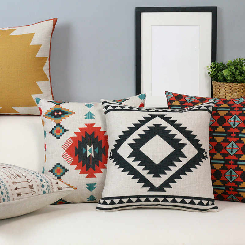 Monad Wholesale Kilim Ethnic Printed Invisible Zipper Throw Pillow Case Cushion Cover