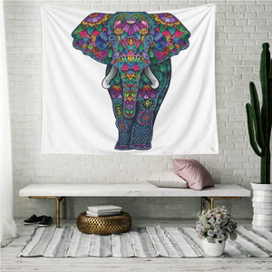 Monad Ethnic Indian Mandala Custom Elephant White Wall Hanging Tapestry
