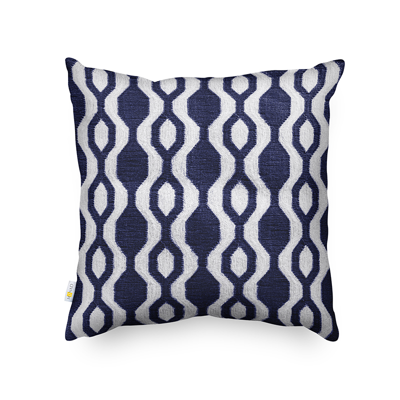 Monad 45x45 Retro Blue Decorative Home Geometric Embroidered Back Cushion Cover