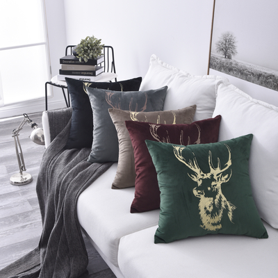 Monad Christmas Deer Embroidered Velvet Sofa Home Decor Cushion Cover With Knife Edge