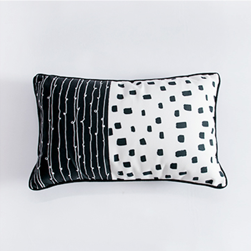 Tropical Trendi Non Woven Black White Cactus Printed Case Pillow Cover