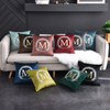 Monad Christmas Home Decor Custom Alphabet Gold Applique Embroidery Luxury Velvet Cushion Cover For Sofa