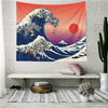 Monad Japanese Cartoon Red Sunset Prints Fabric Wall Hanging Tapestry For Upholstery